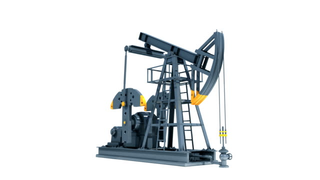 Oil Industry Pump Jack. Working Isolated on White Background. Business Concept rotating 3d animation. Looped. HD 1080. Alpha Matte. video