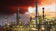 Oil Industry - Red dramatic sky - time lapse video