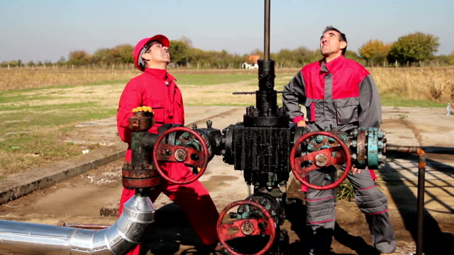 Oil industry Workers Disccussing Issues at Work video