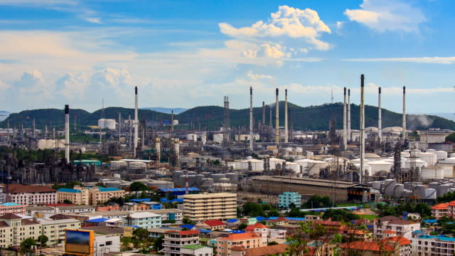 Oil Petroleum Refinery Factory Time Lapse (zoom in) video