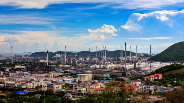 Oil Petroleum Refinery Factory Time Lapse (zoom out) video