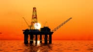 Oil platform at sea on the ocean. video