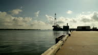 oil platform at the end of a pier video