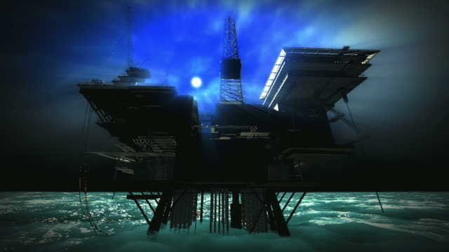 Oil platform engulfed by foggy moonlit night video