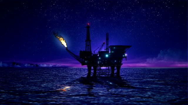 Oil platform in the Arctic loop video