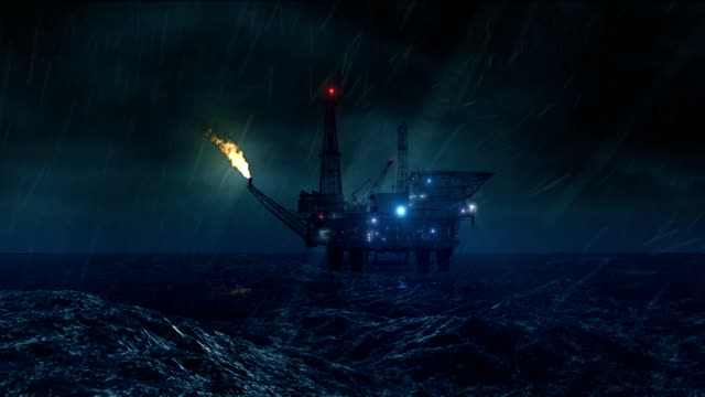 Oil platform in the storm loop HD video