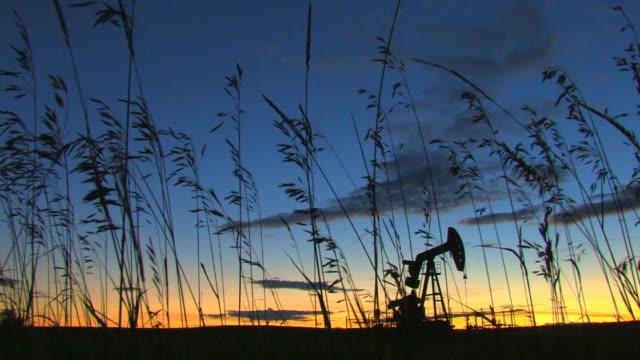 Oil pump behind a silhouette of wild grass video