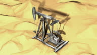 Oil Pump in Desert (3D, loop) video
