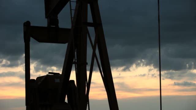 Oil pump in the evening HD1080 video