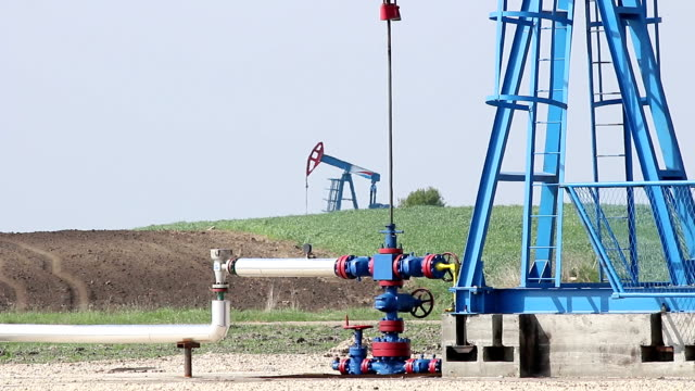 oil pump jack close up video