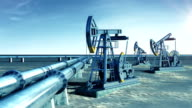 Oil Pump Jacks and Oil-Pipeline. Sun Shining in the blue Sky. Looped animation. Technology and Transportation Business Concept. video