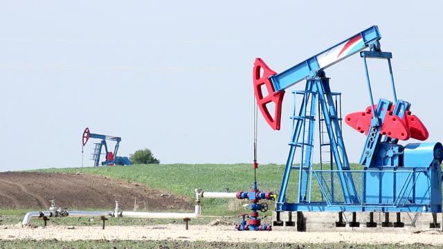 oil pump jacks on field video