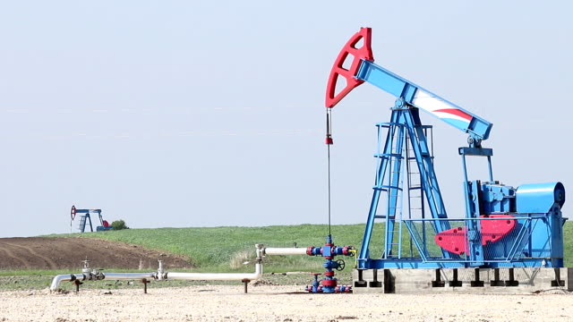 oil pump jacks work on field video
