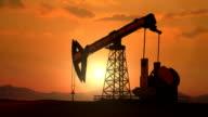 Oil pump sunset pan video