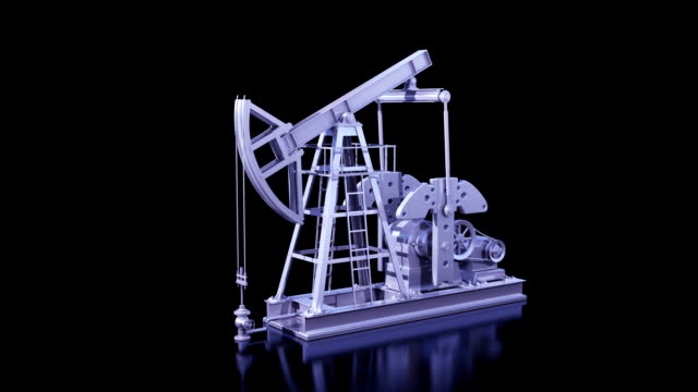 Oil Pump Working Isolated on Black Background. Business Concept 3d animation. Looped. Alpha Matte. HD 1080. video