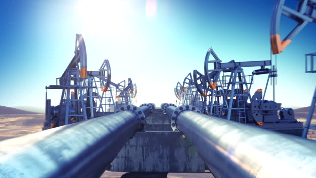 Oil Pumps and Oil Pipeline in endless motion. Looped 3d animation. Blue Sky and Sun Shining. HD 1080. Industrial Business Concept. video