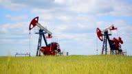 Oil pumps in a rye field video