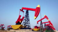 oil pumps working at oilfield, real time video