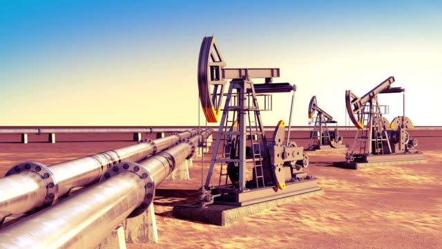 Oil Pumps working at the Pipeline in the desert. Looped animation. Technology and Transportation Business Concept. video