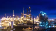 Oil Refinery at Night - Time Lapse video