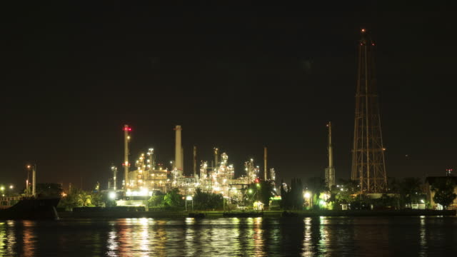 Oil refinery at Night video