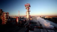 Oil Refinery at Sunset video
