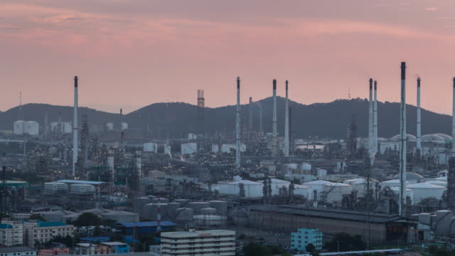 Oil refinery at twilight factory petrochemical plant video