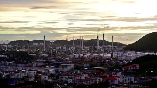 Oil refinery at twilight factory petrochemical video