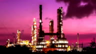 oil refinery at twilight morning,time lapse video
