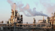 Oil refinery at twilight  petrochemical plant - factory video