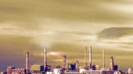 Oil refinery at twilight video