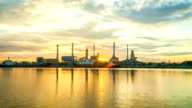 Oil refinery factory at sunrise video