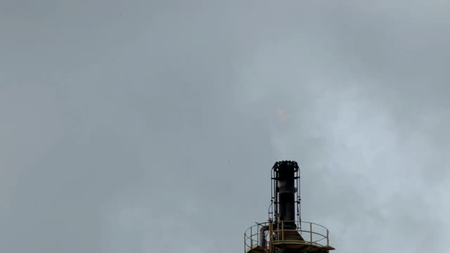 Oil refinery flame video