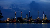 Oil refinery  in night to sunrise . video