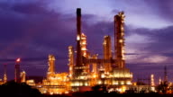 Oil refinery in the morning video