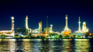 Oil Refinery Plant and tanker Working at dusk video