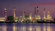 Oil refinery plant at twilight in the morning video