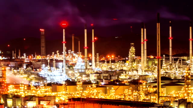 oil refinery plant at twilight night video