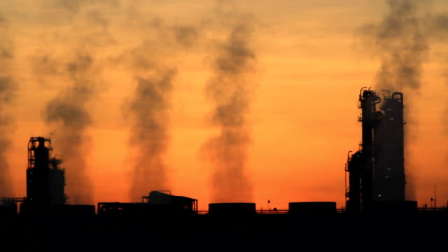 Oil Refinery Plant morning twilight video