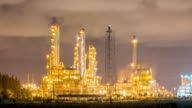 Oil refinery plant on night time , Warm tone video