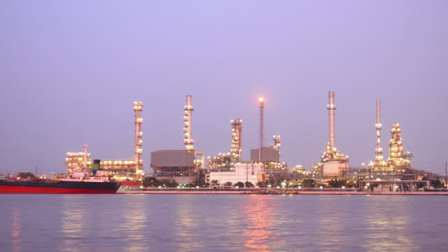 Oil Refinery Plant Time Lapse morning twilight video