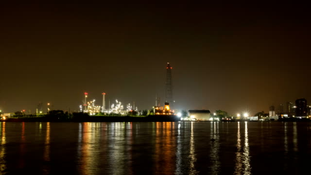 Oil Refinery Station. (Time lapse) video