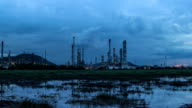 Oil refinery time lapse day to night video