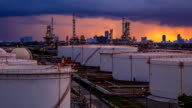 Oil refinery time lapse. video