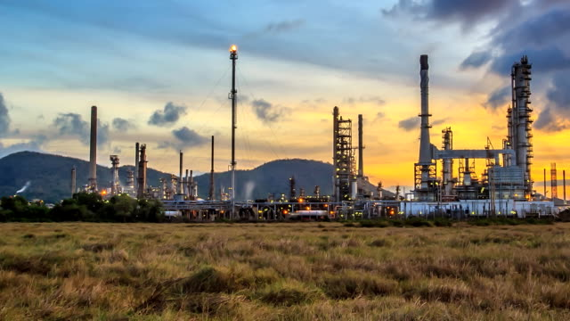 Oil refinery ; Time Lapse. video