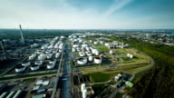 AERIAL: Oil refinery with storage tanks video