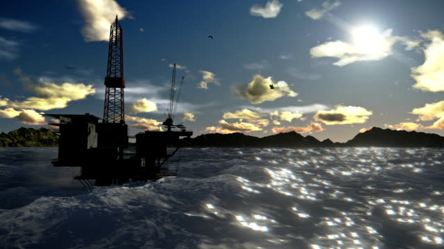 Oil Rig in ocean and seagulls flying, timelapse clouds video