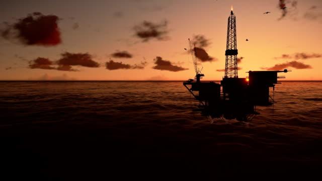 Oil Rig in ocean, beautiful timelapse sunrise video