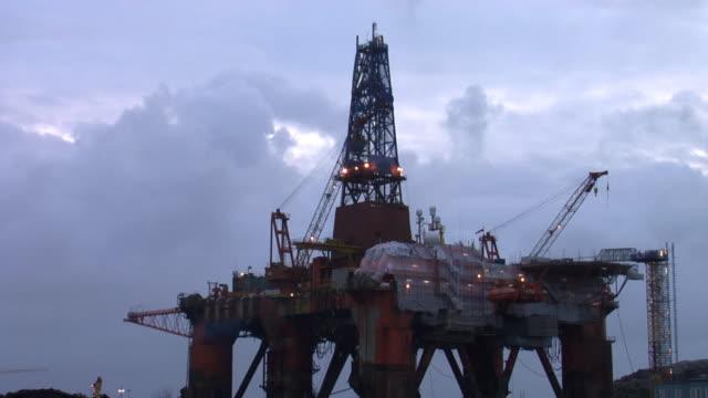 Oil rig in timelapse video