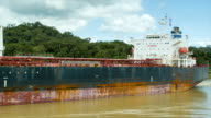 Oil Tanker Container Cargo Ship Passing Through Panama Canal video